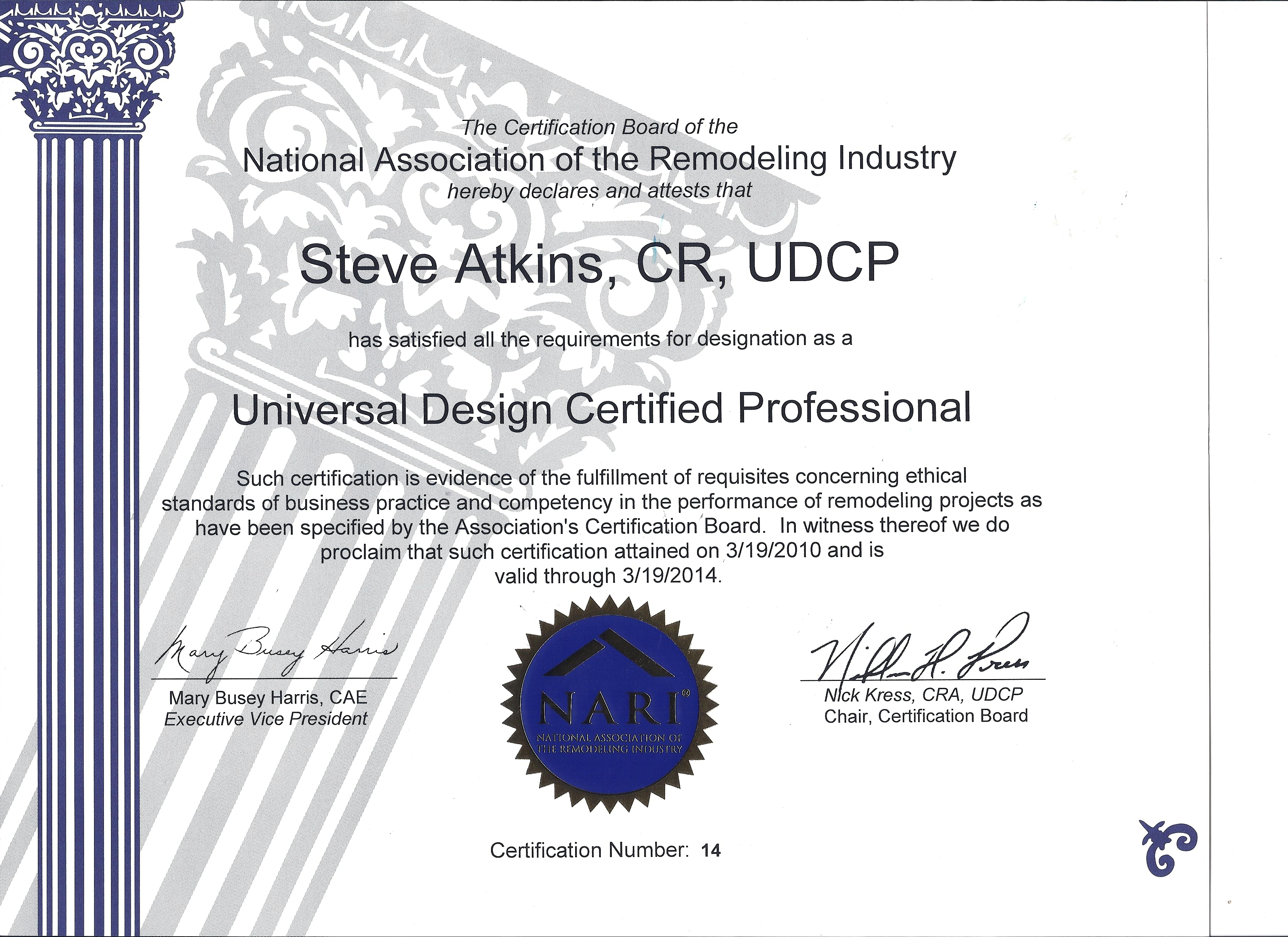Nari udcp certificate for steve atkins country club builders nari udcp certificate 2014 2 xflitez Images